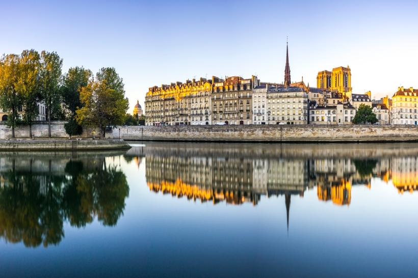 Paris, France, Notre-Dame de Paris reflection in the Seine river