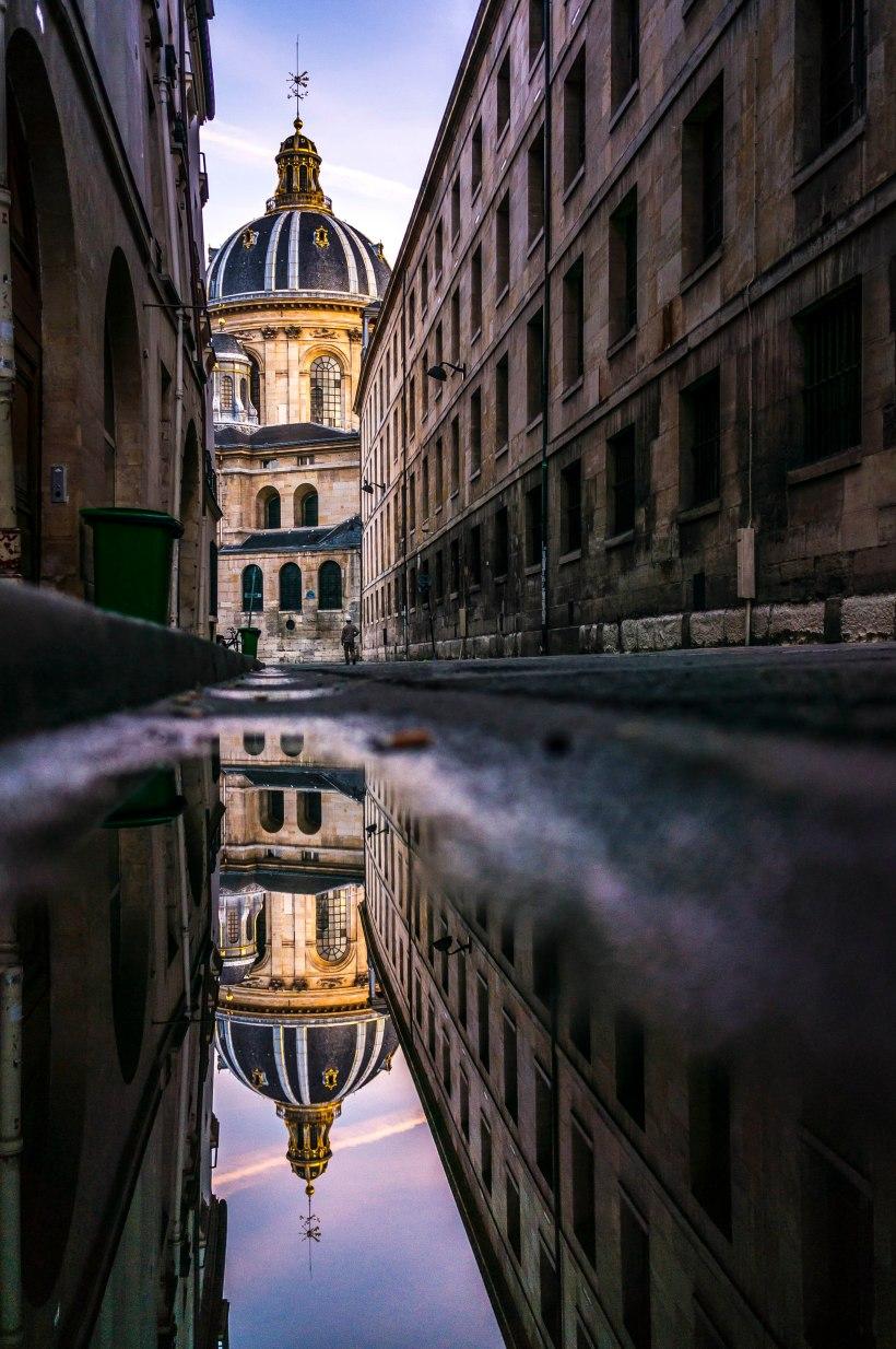 Institut de France, reflection in a puddle, Paris.