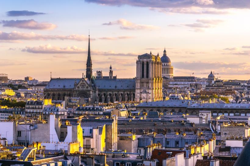 Notre-Dame de Paris, France, Paris, Panthéon, sunset, Centre Pompidou