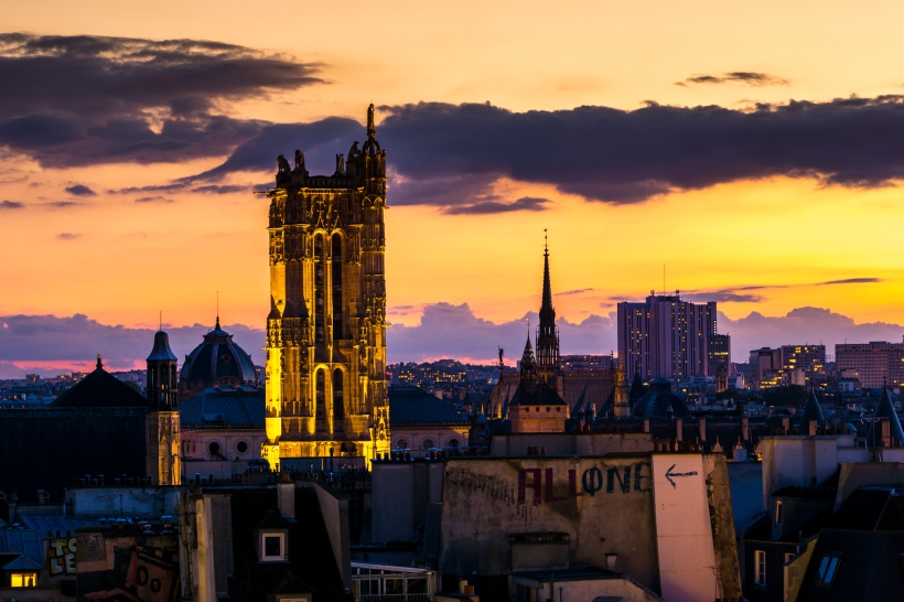 Tour Saint-Jacques at sunset seen from Centre Pompidou - Beaubourg, Paris, France.