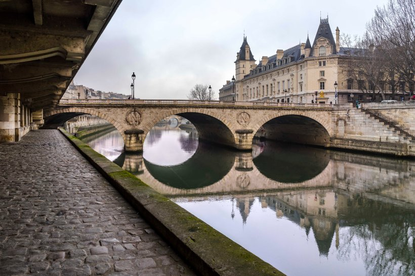 Paris, France - Quai des Orfèvres on a misty morning