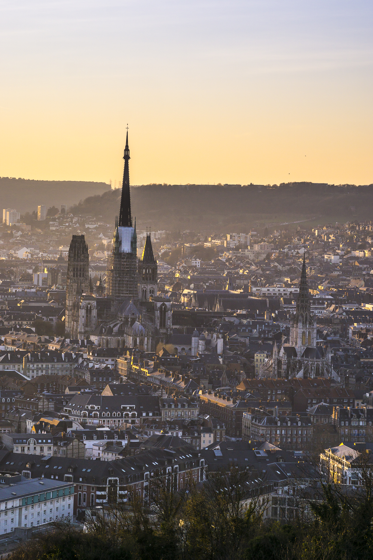 Rouen, evening on the Cathedral from Cote Sainte-Catherine