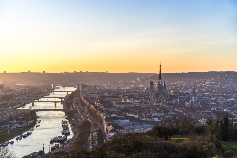 Rouen, sunset on the Cathedral from Cote Sainte-Catherine
