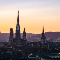 Rouen, France : sunset on the city of hundred spires