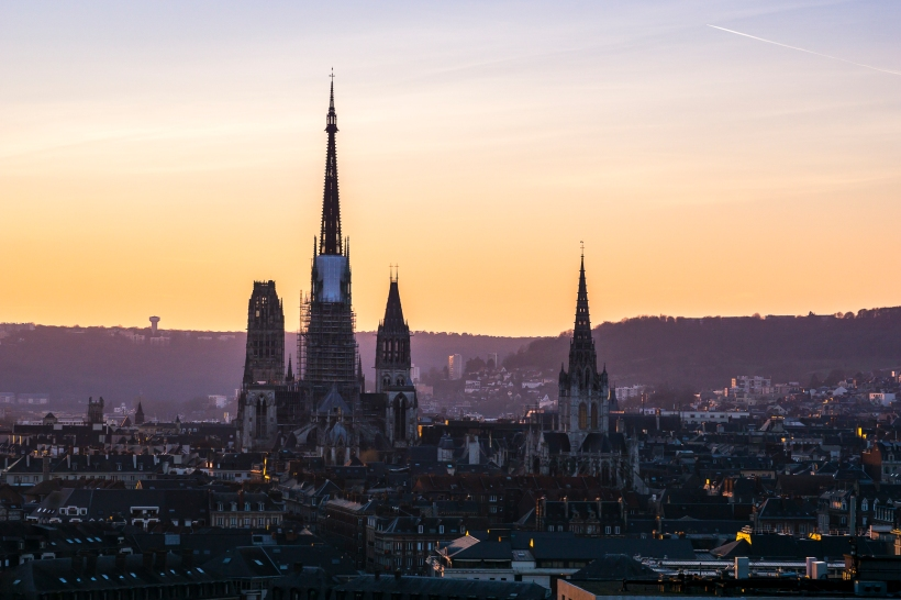 Rouen, sunset on the Cathedral