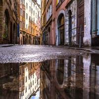 Puddle Photography in Lyon, France