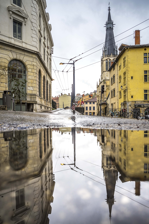 Lyon, France - Saint Paul puddle reflection