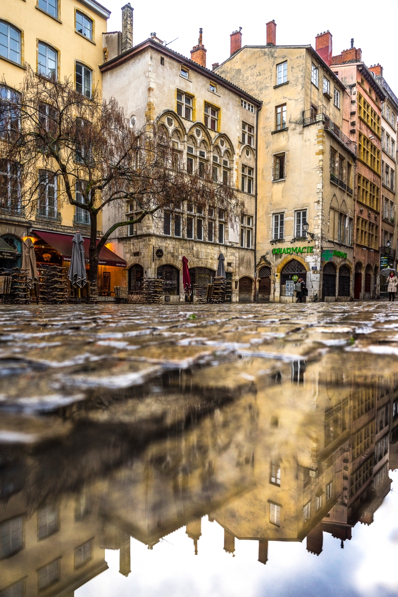 Lyon, France - Maison Thomassin in a puddle