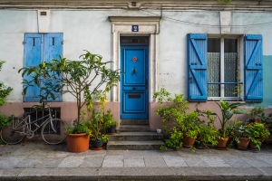 Paris, France - Rue Crémieux, blue shutters
