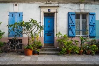Paris, France - Rue Crémieux, blue shutters