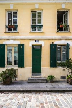 Paris, France - Rue Crémieux, green shutter