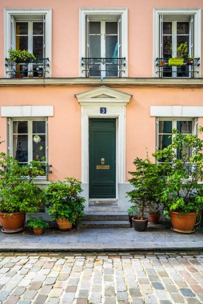 Paris, France - Rue Crémieux, pale-orange facade