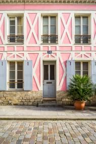 Paris, France - Rue Crémieux, pink facade