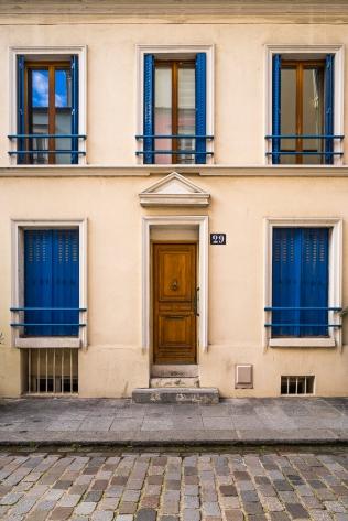 Paris, France - Rue Crémieux, tirangular frontispiece