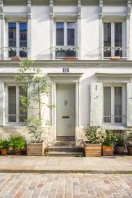 Paris, France - Rue Crémieux, white facade