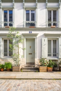 Paris, France - Rue Crémieux, white facade