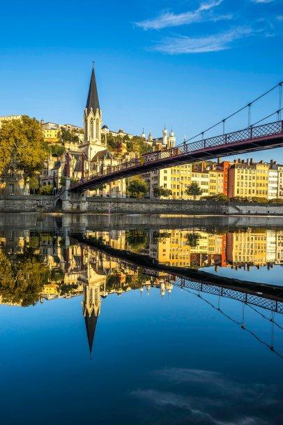 Lyon, France - Sunrise on Fourvière and Saint-Georges