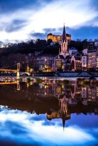 Lyon, France - Saint-Georges at night