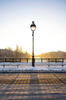 Paris, France - sunrise on a lamppost, Pont d'Arcole