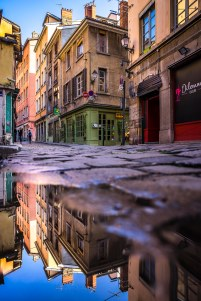 Lyon, France - Reflection Rue Saint-Georges