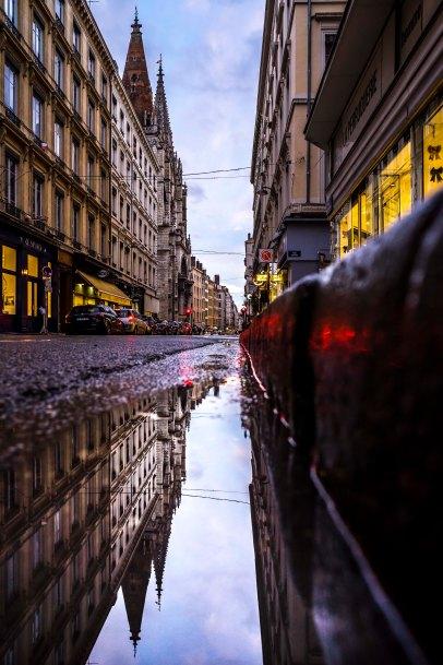 Lyon, France - Saint-Nizier at nightfall
