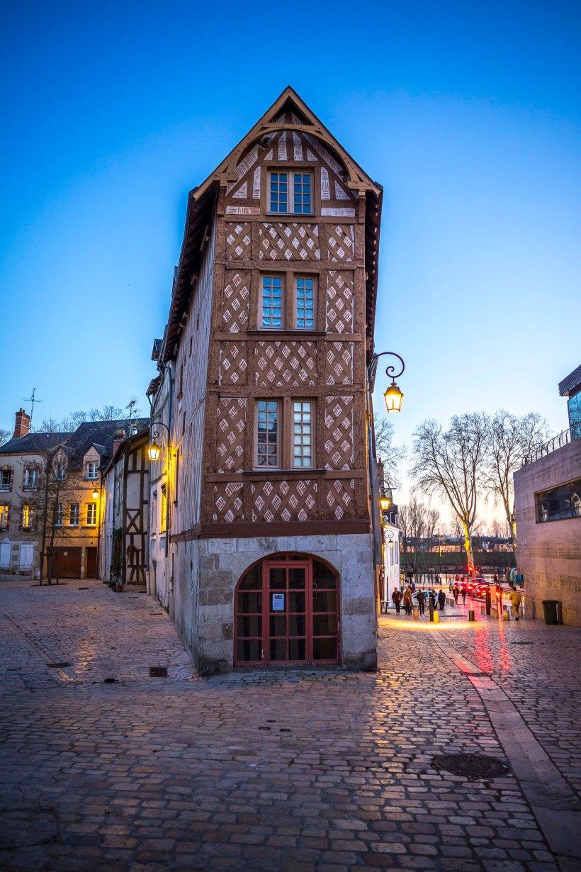 Orléans, France - nightfall on the old city
