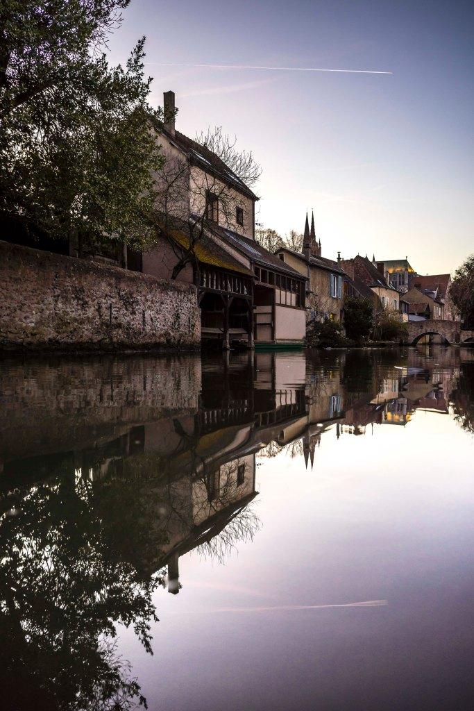 Chartres, France - Along the Eure at nightfall
