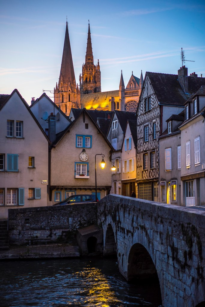 Chartres, France - Sunset over the Cathedral