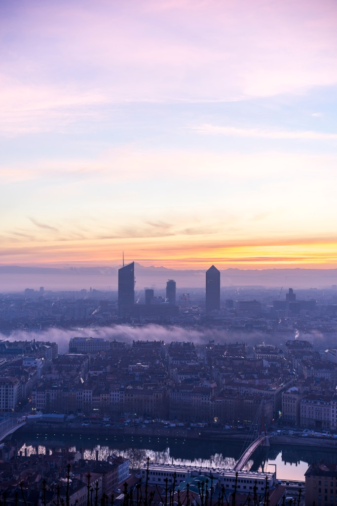 Lyon, France - Mist over the Rhône at sunrise