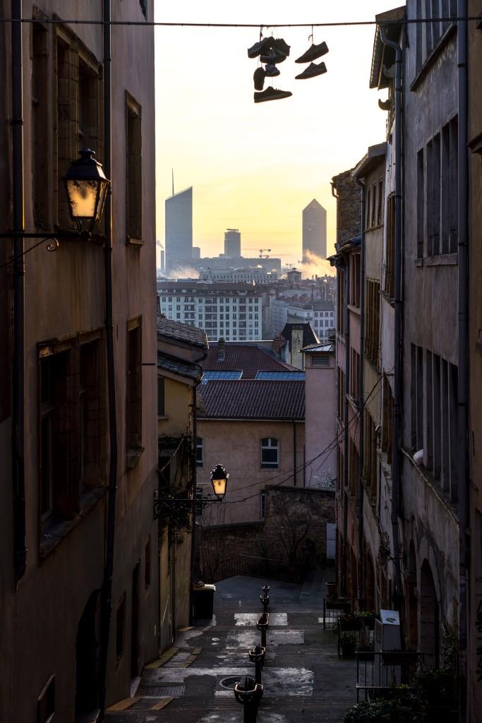 Lyon, France - Sunrise from Montée du Garillan
