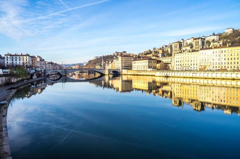 Lyon, France - Sunrise on the Saône