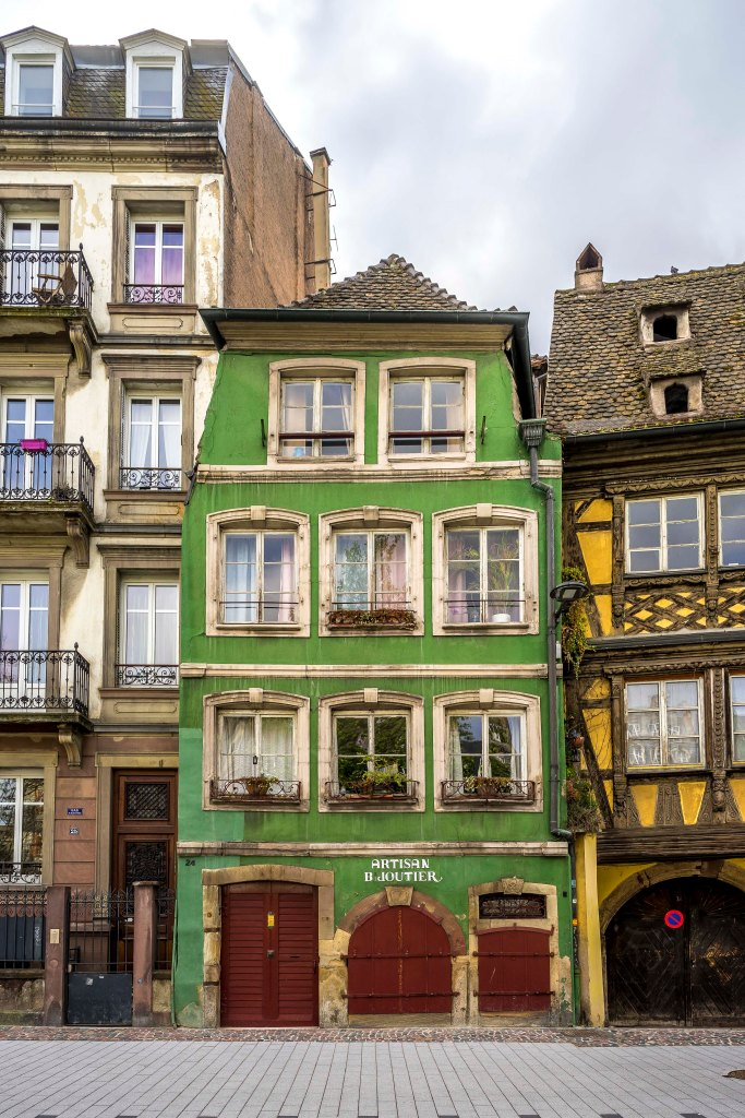 Strasbourg, France - Green facade on Quai Saint-Nicolas