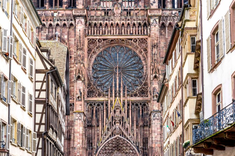 Strasbourg, France - The rose from the frontispiece as seen from Rue Mercière