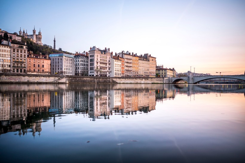 Lyon, France - Sunrise on Saint-Georges from the banks of the Saône river