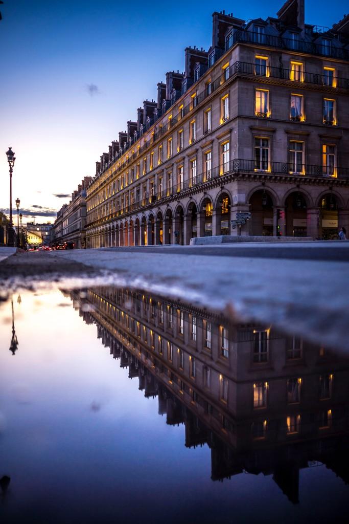 Paris, France - Rue de Rivoli at sunset