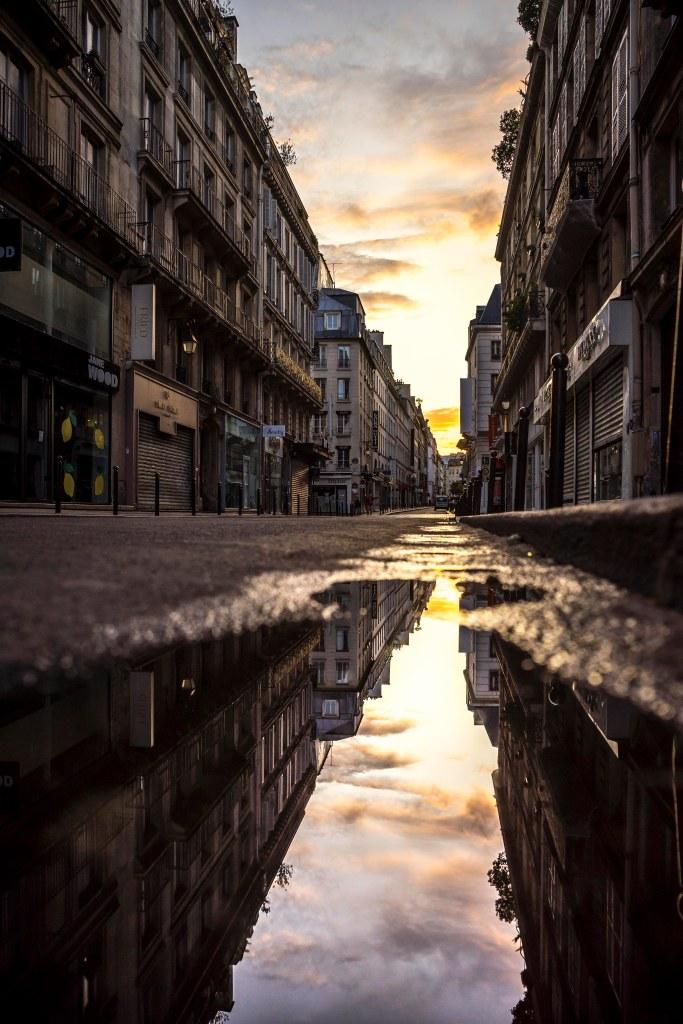 Paris, France - Rue du Caire at sunset