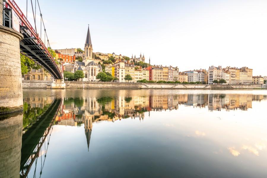 Lyon, France - Passerelle Paul Couturier and Saint-George